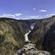 Panoramic waterfall landscape of lower Yellowstone Falls