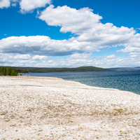 Shoreline, Lake, and Clouds at Yellowstone National Park