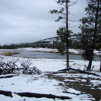 Snowy Fountain Flats On The Firehole River at Yellowstone National Park, Wyoming
