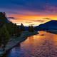 Sunset over the river in Yellowstone National Park, Wyoming