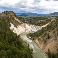 Views of Yellowstone River from Calcite Springs Overlook