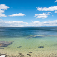 Yellowstone Lake Landscape under the skies