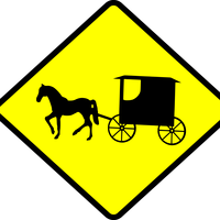 Amish Buggy Crossing vector clipart