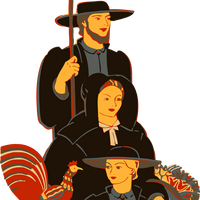 Amish Family Vector Clipart