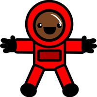 Astronaut in Red Space Suit vector clipart