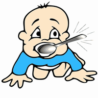 Baby with Silver Spoon in Mouth vector file