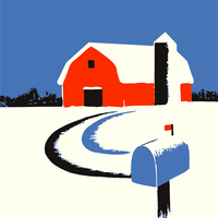 Barn and Mailbox in the Snow Vector Clipart