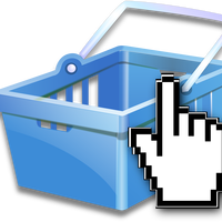 Basket with pointer icon Vector Clipart