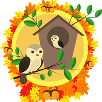 Birds and Birdhouse in the autumn vector clipart