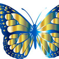 Blue and Gold Monarch Butterfly Vector Files