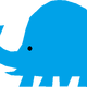 Blue Elephant Vector Clipart