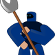 Blue Robot with Axe vector clipart