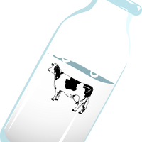 Bottle of Milk with Cow Vector Clipart