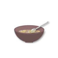 Bowl with spoon and food vector file