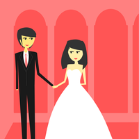 Bride and Groom Wedding Vector Clipart