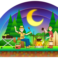 Camping Snowglobe vector clipart