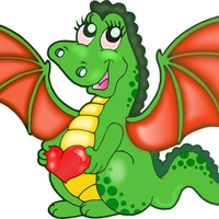Cartoon Dragon with heart Vector Clipart