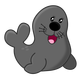 Cartoon Grey Seal Vector Clipart