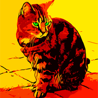 Cat Oil Painting Vector Clipart