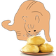 Cat sniffing a plate of bread vector clipart
