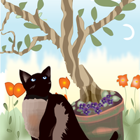 Cat Under Tree Vector Graphic