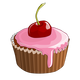 Cherry Cupcake Vector Clipart