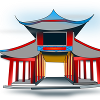 Chinese Pavilion Vector Art