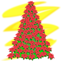 Christmas Tree with red flowers vector clipart