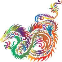 Colored Prismatic Dragon Vector Clipart