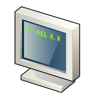 Computer with DOS Screen vector clipart