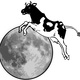 Cow jumping over the moon vector clipart