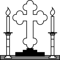 Cross and Candles vector clipart