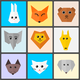 Cute animal heads Grid Vector Clipart
