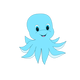 Cute Blue Octopus Vector Clipart