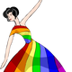 Dancer in Rainbow Dress vector clipart