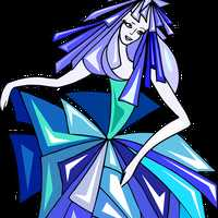 Dancer in blue flowers dress vector clipart