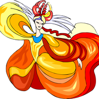 Dancer in Orange-red sun dress vector clipart