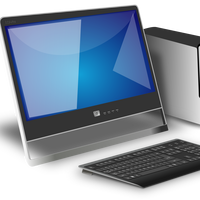 Desktop Computer with monitor vector clipart
