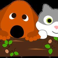 Dog and Cat Behind Tree Trunk vector clipart