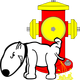 Dog Peeing on Fire Hydrant vector clipart