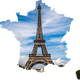 Eiffel tower in the Shape of France Vector Clipart