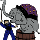 Elephant and Trainer vector clipart