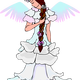 Fairy with white dress and wings vector clipart