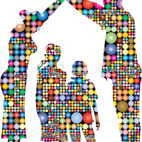 Family made of Prismatic Circles vector clipart