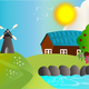 Farm landscape illustration vector graphics