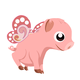 Flying Piglet Vector Clipart