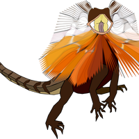 Frilled Neck Lizard Dragon Vector Clipart