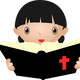 Girl Studying the Bible Vector Clipart