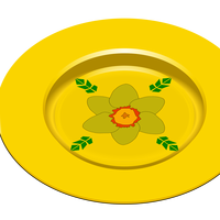 Golden Flower Plate Vector Clipart