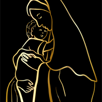 Golden Outline of Mary and Jesus vector file
